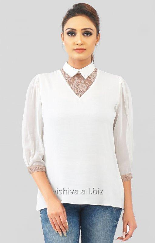 Buy White and Beige Net Top