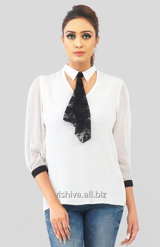 Buy White and Black Collar Top