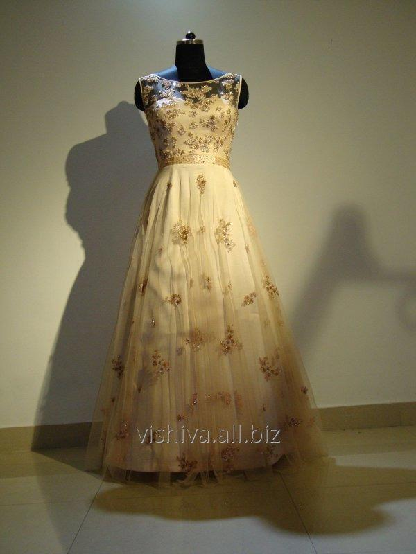 Buy Thread Embroidery handwork Pink color Gown