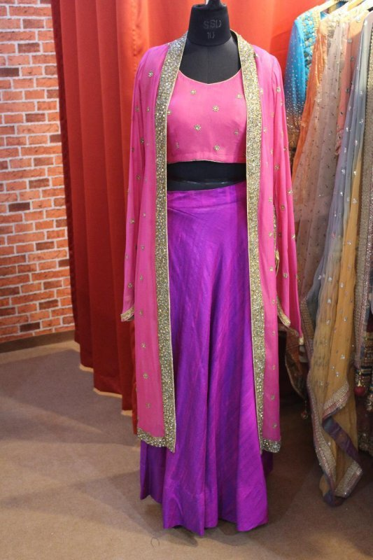 Buy Pink color hand embroidery top with Purple raw silk Skirt