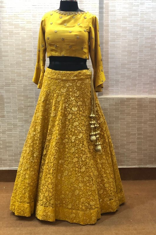 Buy Thread and sequins embroidery Yellow dress