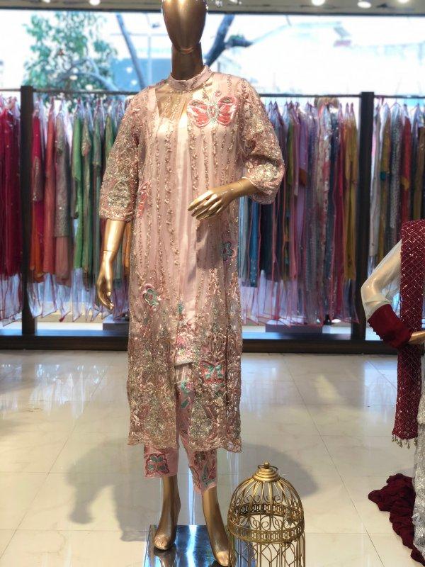 Buy Baby Pink jacket with short kurta and pant