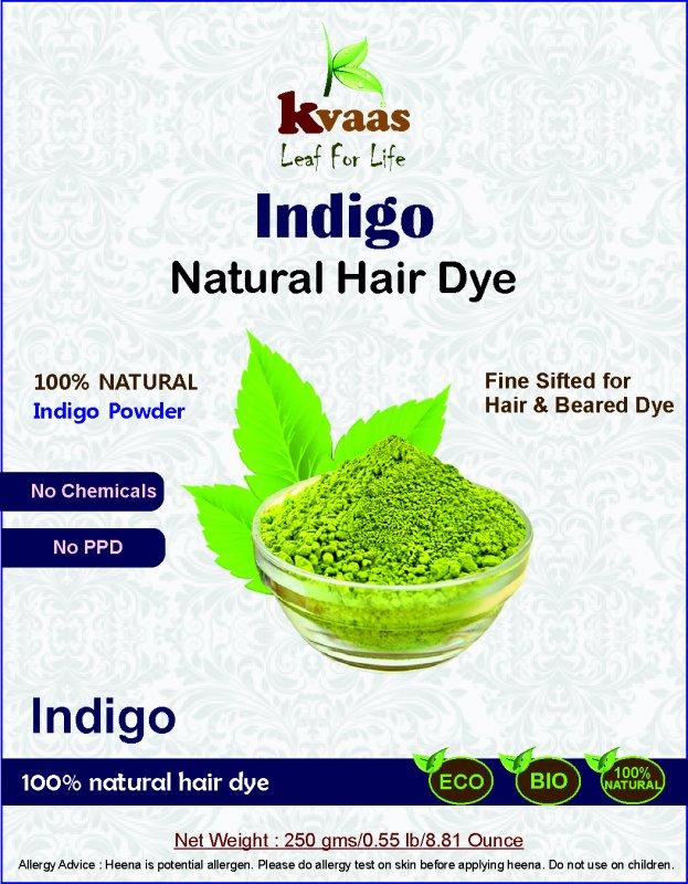 Buy 250 g Natural Indigo Powder for Hair & Beard - Kvaas