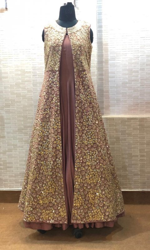 Buy Heavy hand embroidery jacket with plain gown