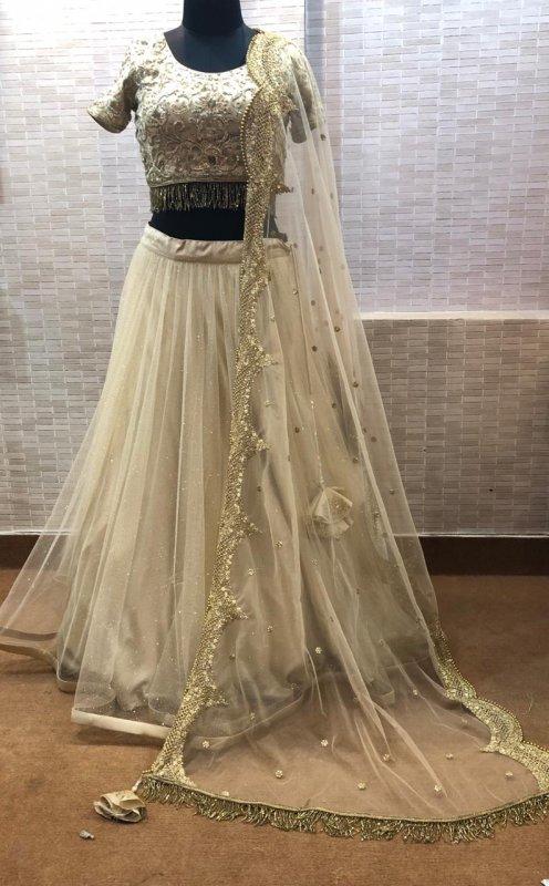 Buy Light Ivory glitter net with zari work dress