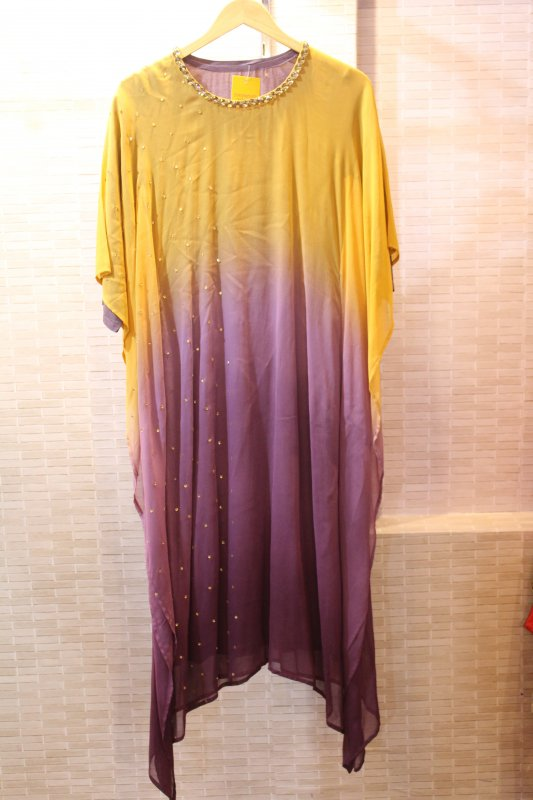 Buy Mustard and mauve color kaftan with stone work dress