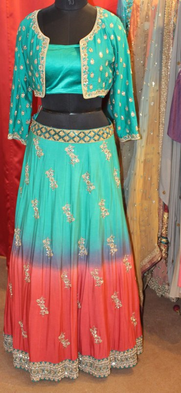 Buy Peacock green and coral color hand embroidery dress