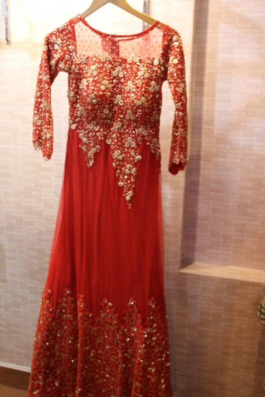 Buy Red net trail sequins work gown
