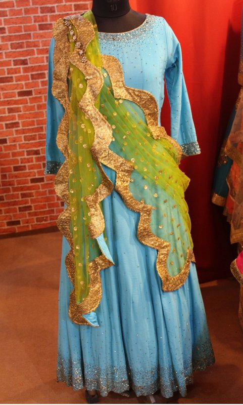 Buy Turquoise color floor length with lime green dupatta