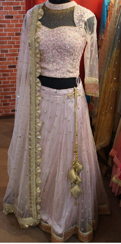Buy Baby pink Zari embroidered net full flair skirt, blouse and Duptta