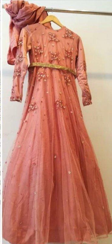 Buy Embroidered gold waist belt dull pink dress