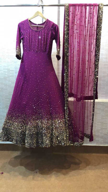 Buy Heavy copper sequins work wine color Gown