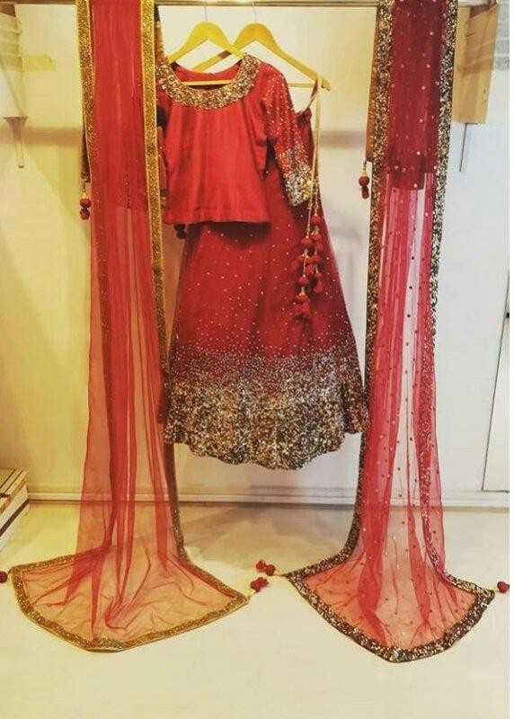 Buy Copper sequins work Bright Red Lehenga