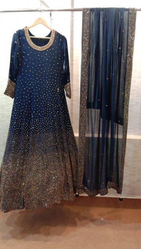 Buy Heavy copper sequins work Dark blue Gown