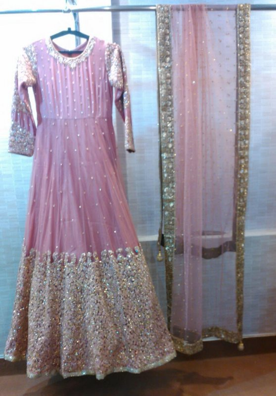 Buy Hand embroidery Pink color Gown