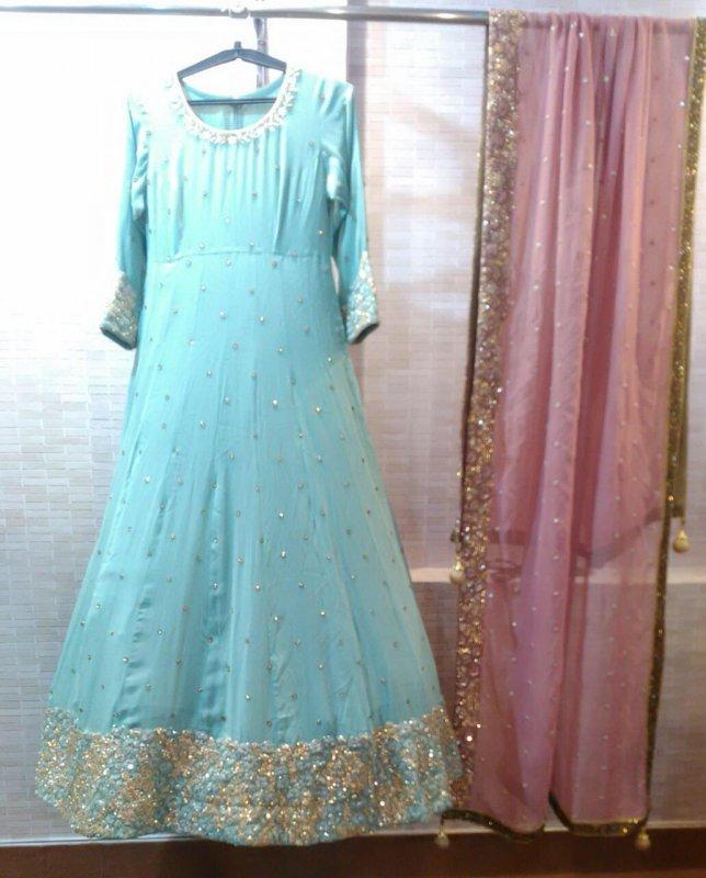 Buy Light teal blue embroidered Dress