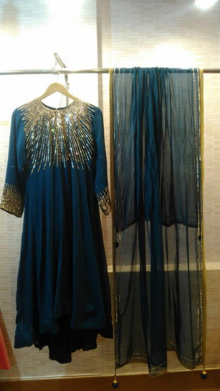 Buy  Purssian blue and emerald green georgette flaired dress