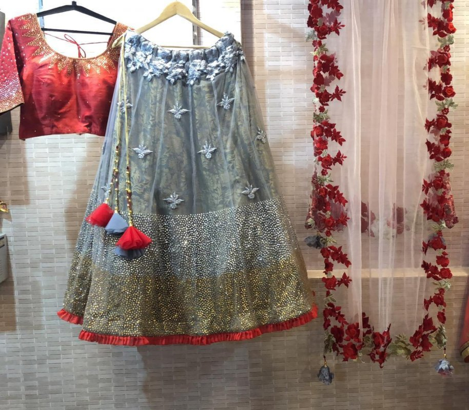 Buy Steel Grey color Dress with thread embroidered dupatta