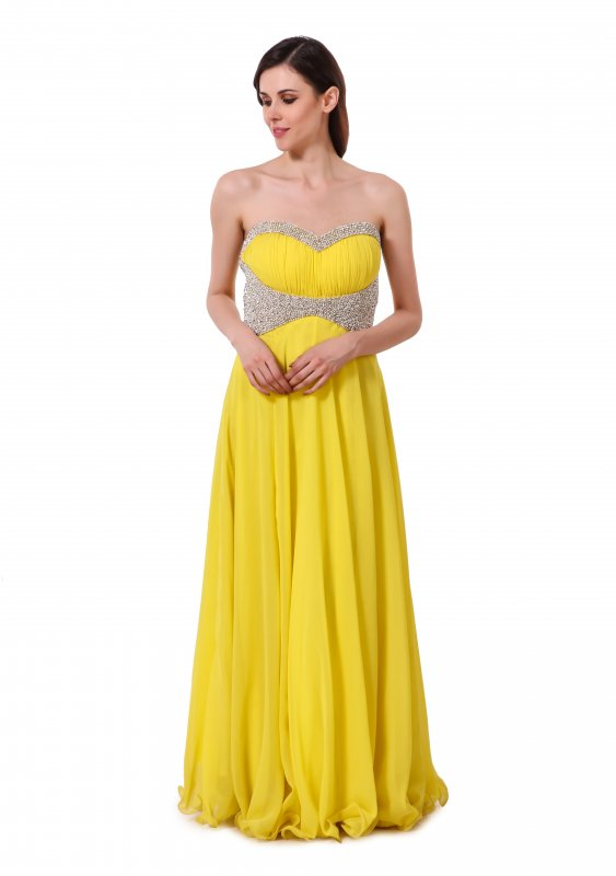 Buy Bumble bee yellow georgette gown with hand embroidered pearls and zercon