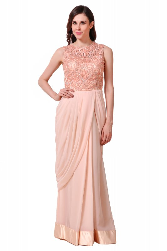 Buy Cream blush peach draped saree gown in net and georgette