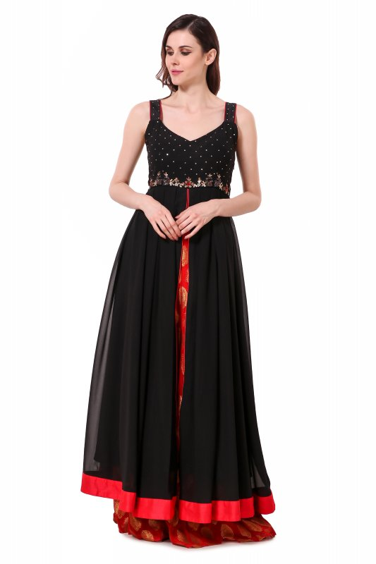 Buy Floor length front slit dress with banarasi skirt
