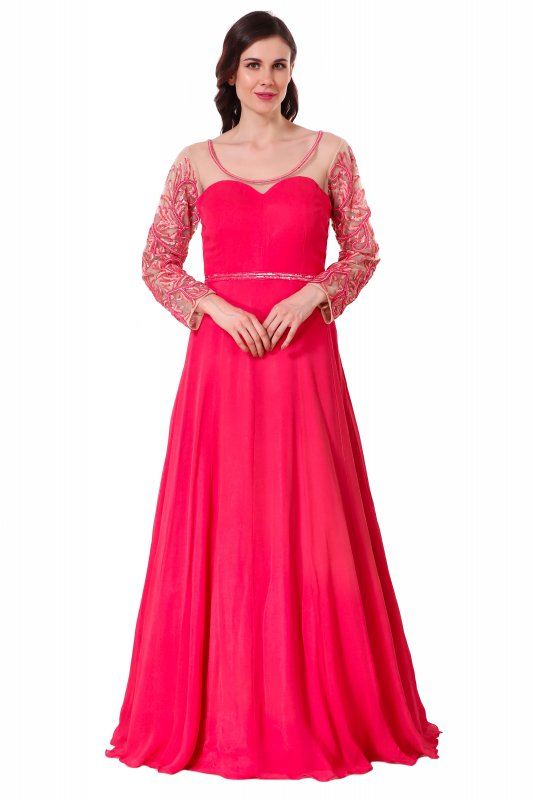 Buy Indian red georgette gown with hand embroidery
