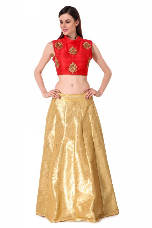 Buy Golden banrasi lehenga with embroidered blouse