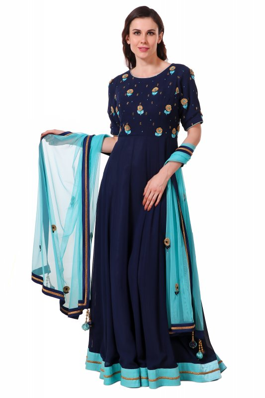 Buy Oxford blue anarkali with hand emboidered zari flowers and Net duppatta