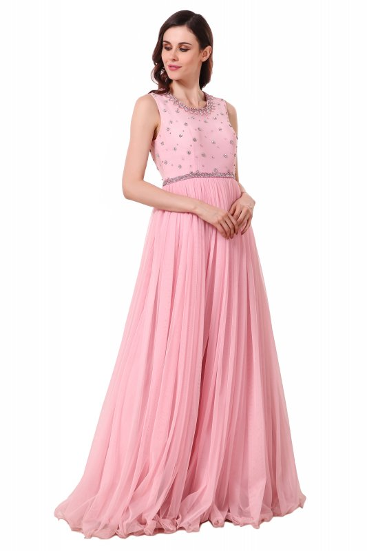 Buy Powder pink gown with gather in net