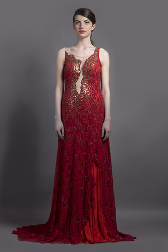 Buy Red color Mermia Trail Gown