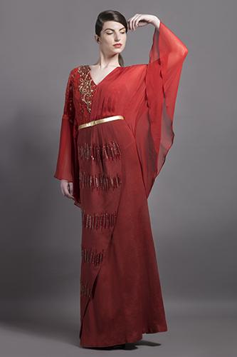 Buy Red Peacock Kimono Gown