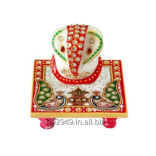Buy Marble Ganesh With Chowki