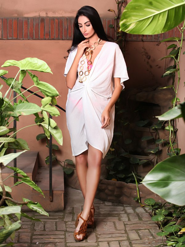 Buy Diana white linen Beach Cover up Dress