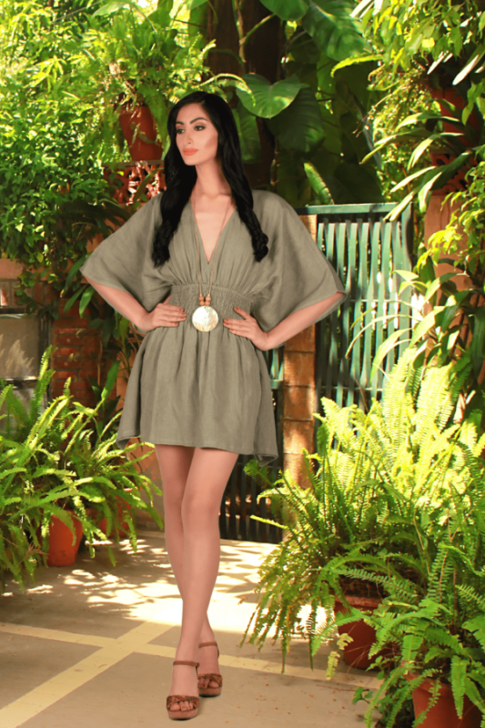 Buy Enzo Green beach cover-up crafted Outfit