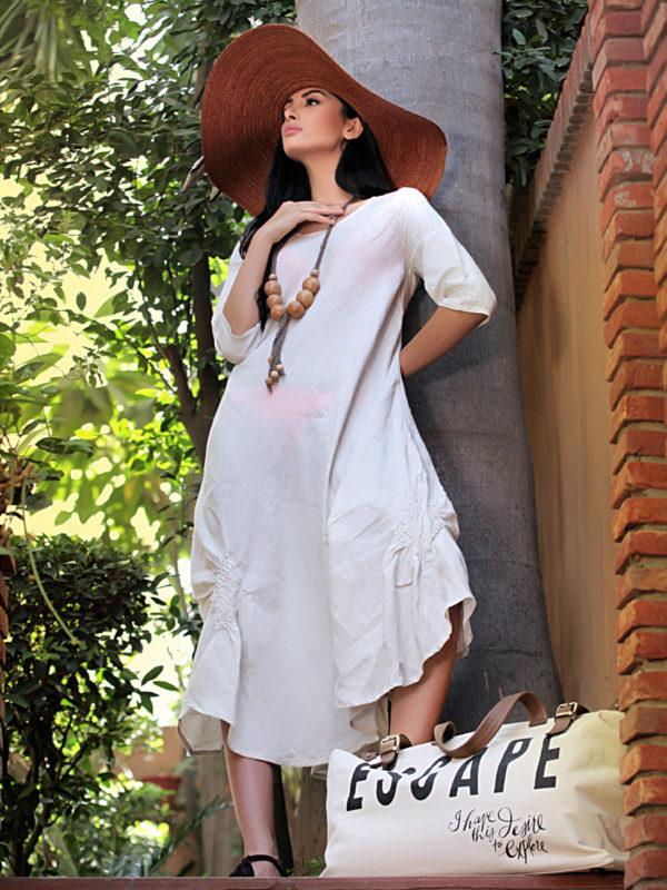 Buy Ella Beige linen summer evening dress