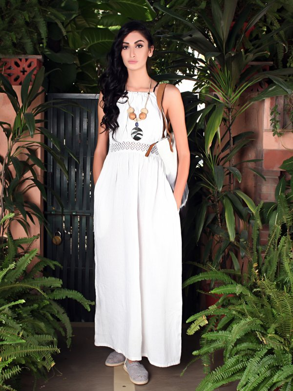 Buy Maria white linen Maxi Dress