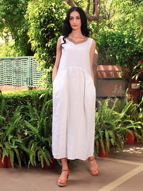 Buy Irene White Linen midi dress
