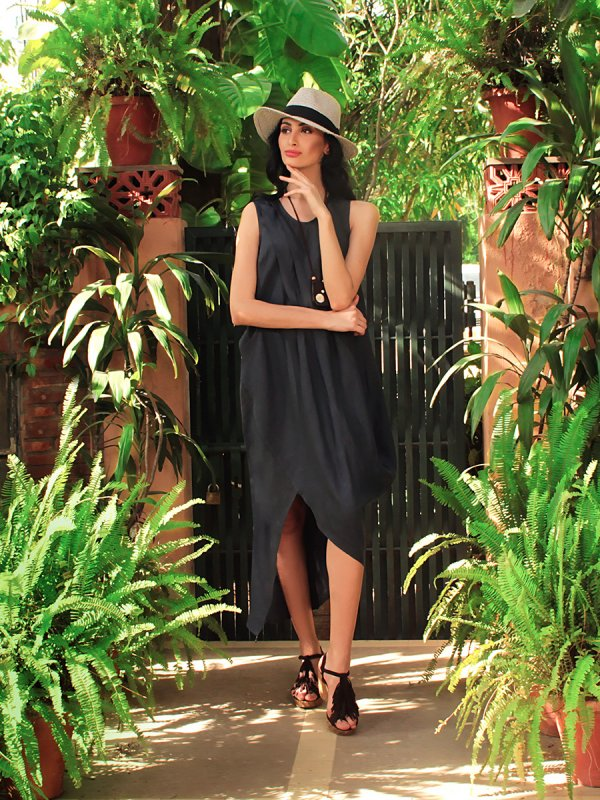 Buy Cecelia Navy Blue linen Dress