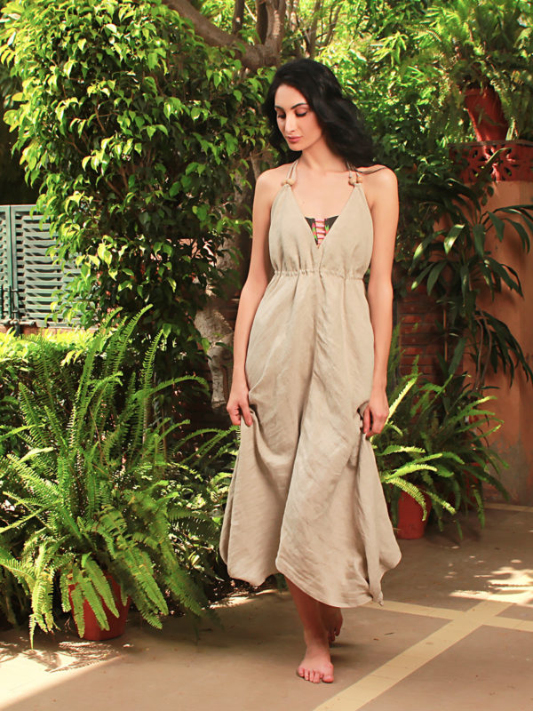 Buy Malala Beige Color Beach Cover up dress