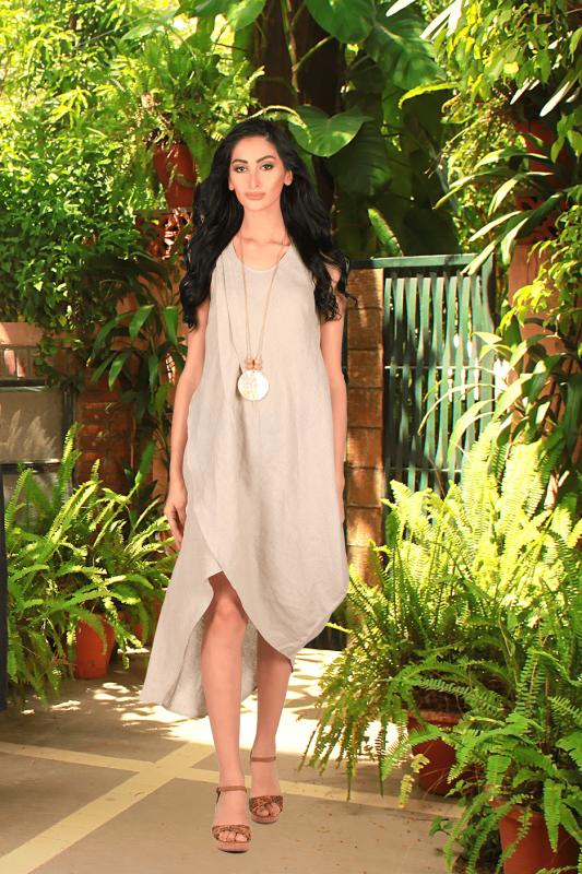 Buy Cecelia Natural Beige Linen Classy Long Dress