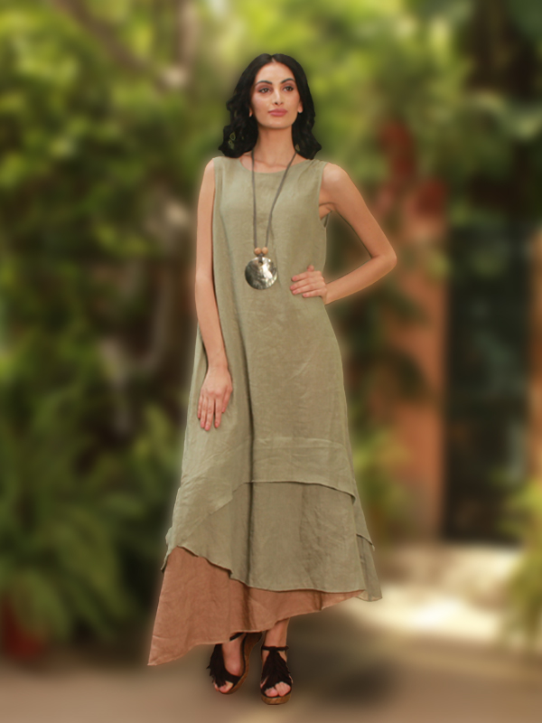Buy Mia classy pure linen dress
