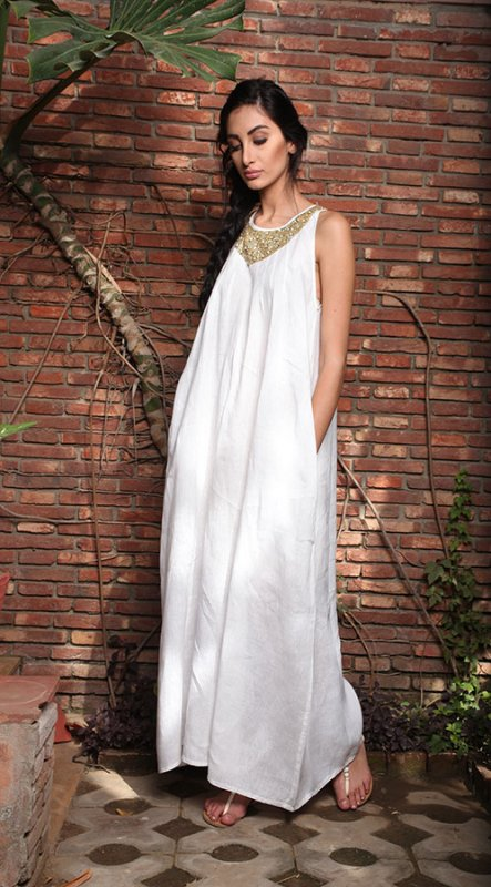 Buy Elina Off white Linen Maxi dress