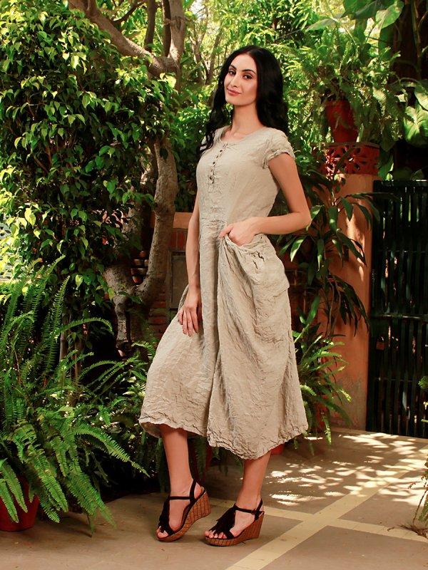 Buy Simona Natural Beige Pure Panache Dress
