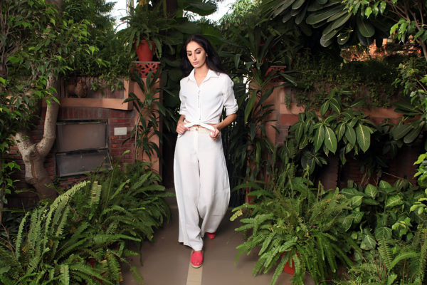 Buy Serena white Linen Shirt with a wide leg pant