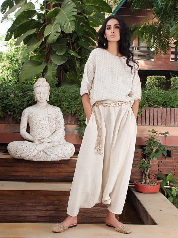 Buy Ruma Style Beige Linen Skirt