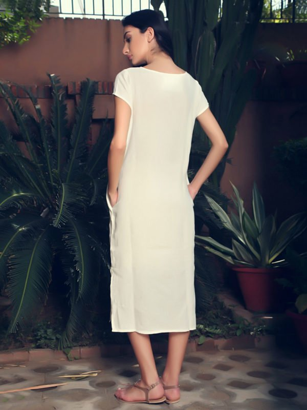 Buy Fiona Off white Linen Midi Dress