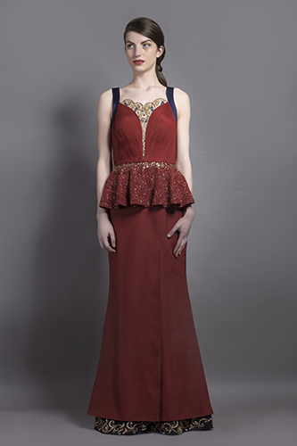 Buy Ox Blood color Belle Peplum Gown