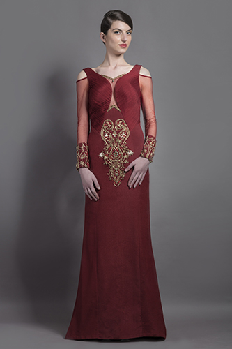 Buy Ox Blood Color Minza Cowl Gown