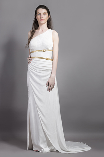 Buy White One off shoulder gown