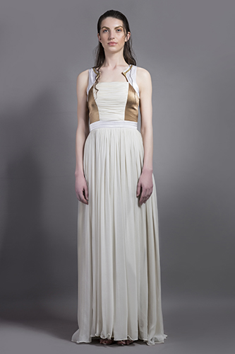 Buy White and Gold Racer pal Gown